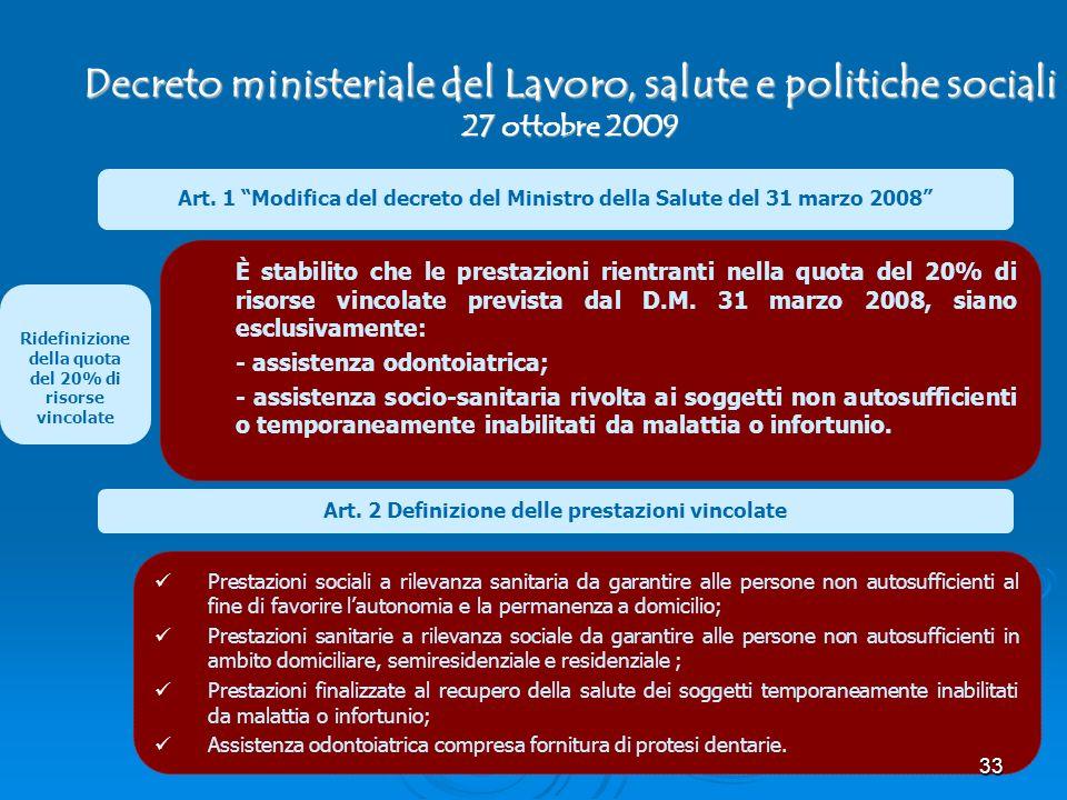 Decreto ministeriale del Lavoro, salute e politiche sociali