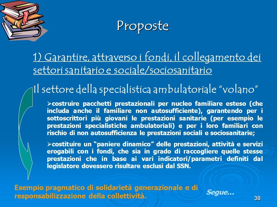 Proposte 1) Garantire, attraverso i fondi, il collegamento dei settori sanitario e sociale/sociosanitario.
