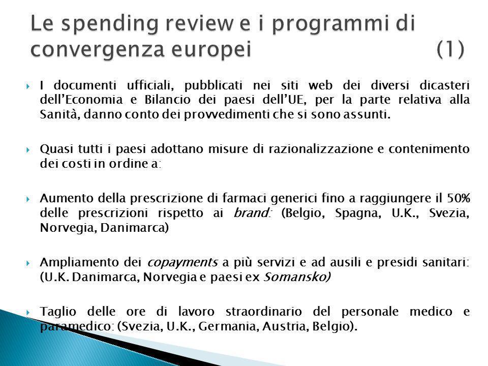 Le spending review e i programmi di convergenza europei (1)