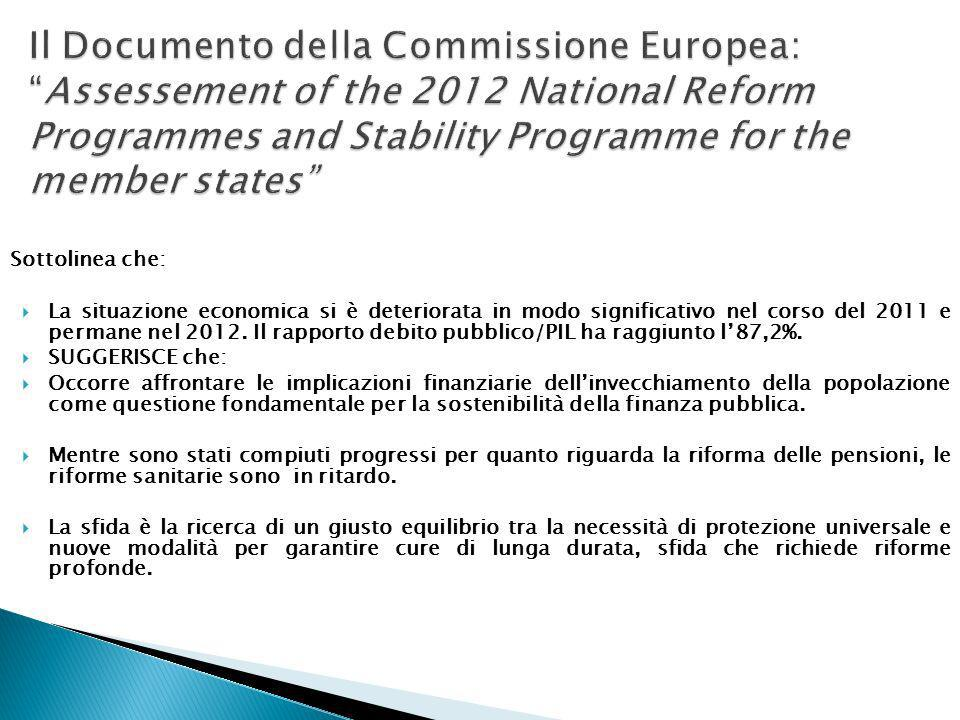 Il Documento della Commissione Europea: Assessement of the 2012 National Reform Programmes and Stability Programme for the member states