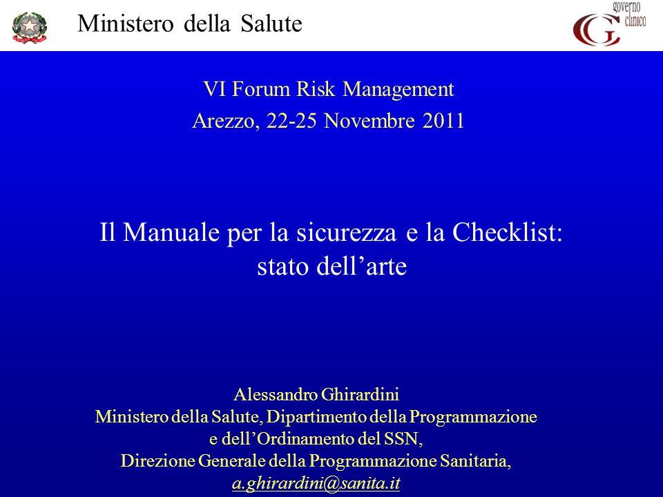 Il Manuale per la sicurezza e la Checklist: stato dell'arte