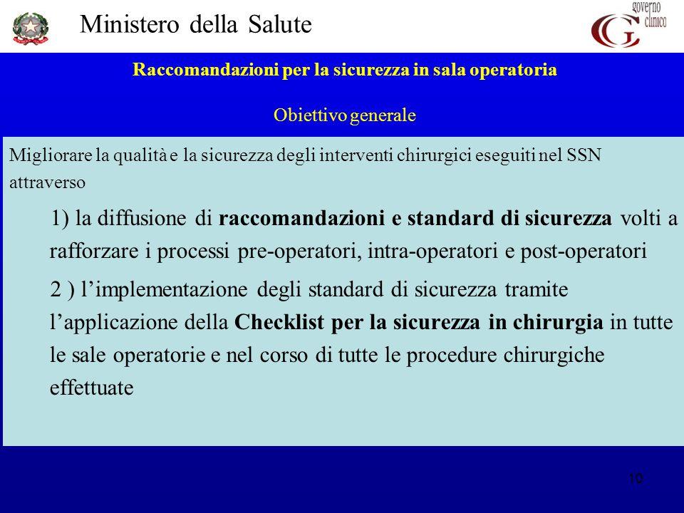Raccomandazioni per la sicurezza in sala operatoria Obiettivo generale
