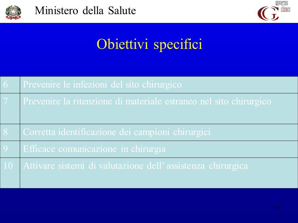 Obiettivi specifici 6 Prevenire le infezioni del sito chirurgico 7