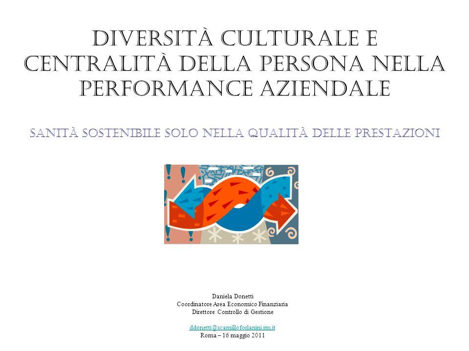 Diversità culturale e centralità della persona nella performance aziendale sanità sostenibile solo nella qualità delle prestazioni