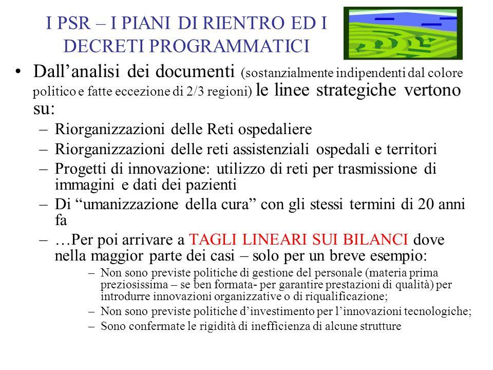 I PSR – I PIANI DI RIENTRO ED I DECRETI PROGRAMMATICI