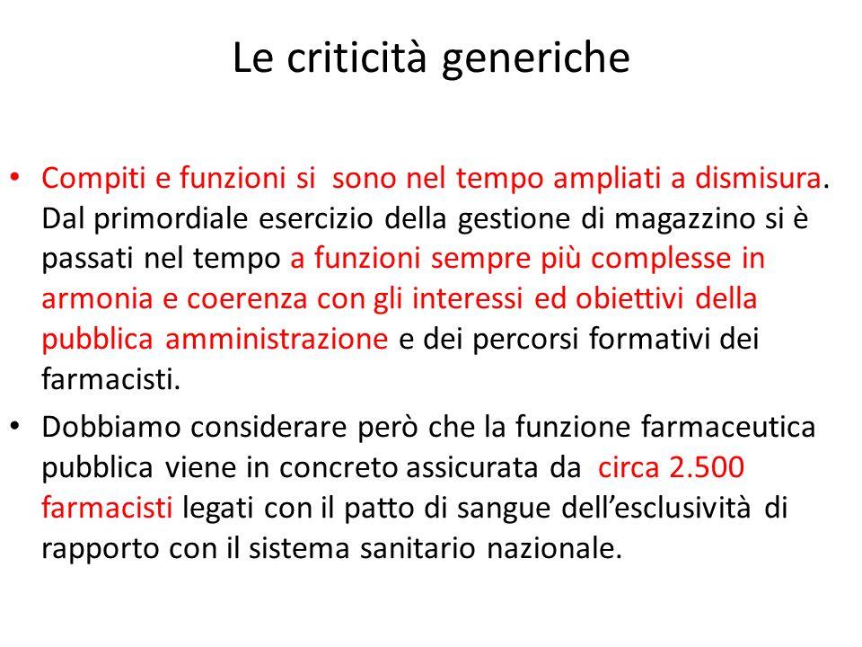 Le criticità generiche