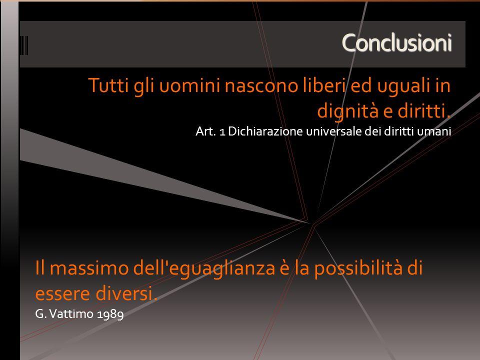 Conclusioni Tutti gli uomini nascono liberi ed uguali in dignità e diritti. Art. 1 Dichiarazione universale dei diritti umani.