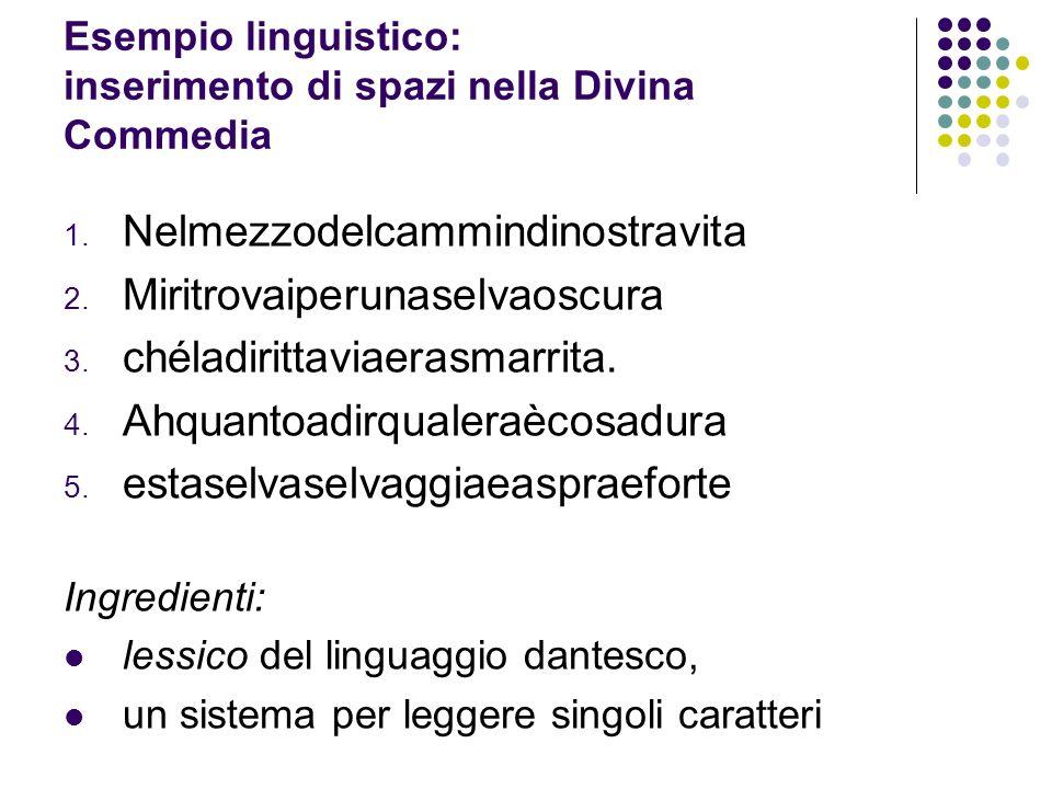 Esempio linguistico: inserimento di spazi nella Divina Commedia