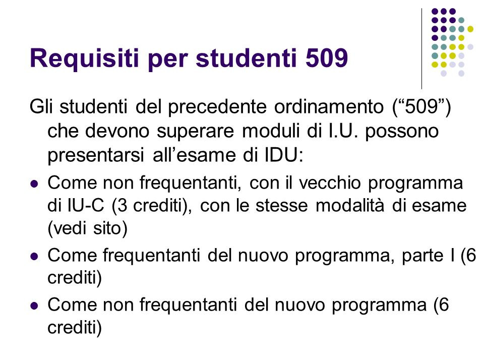 Requisiti per studenti 509