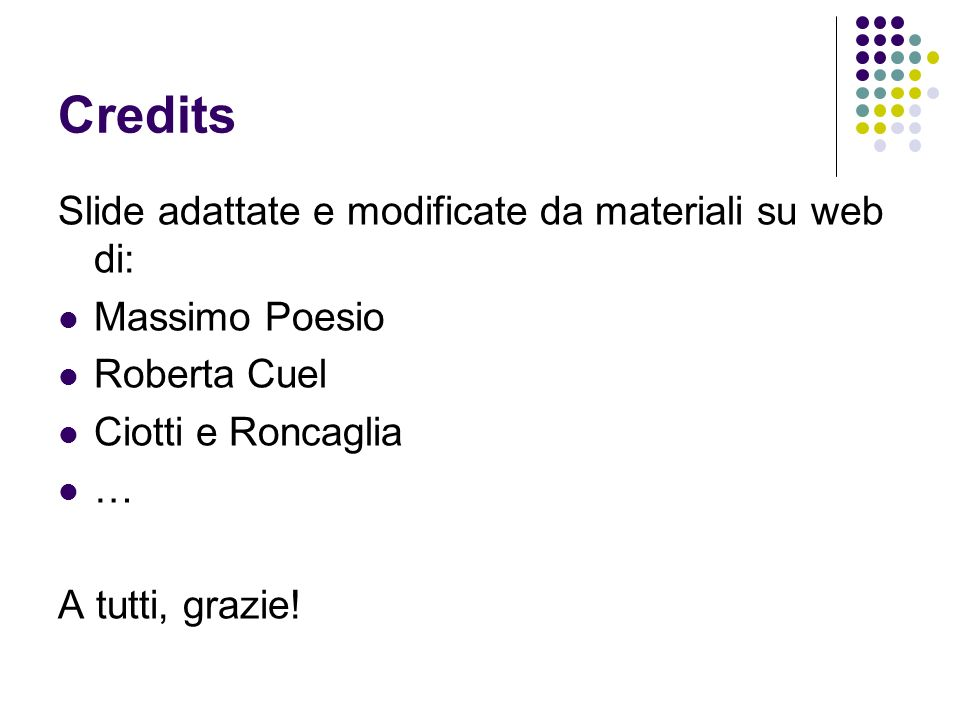 Credits Slide adattate e modificate da materiali su web di: