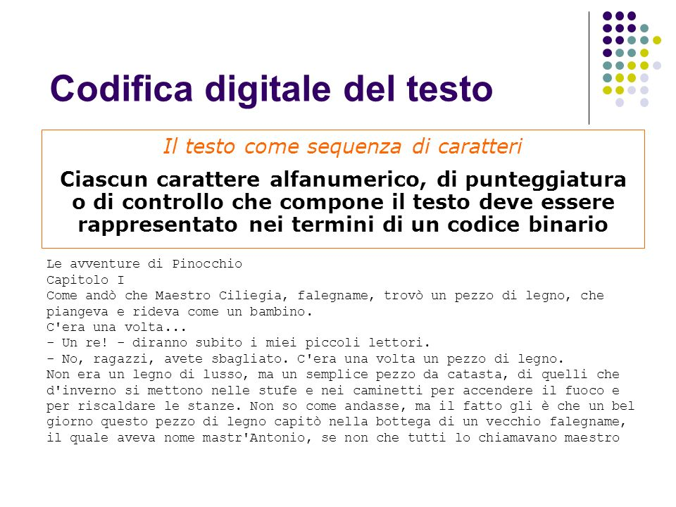 Codifica digitale del testo