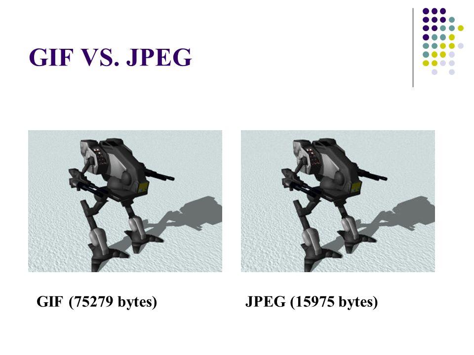 GIF VS. JPEG GIF (75279 bytes) JPEG (15975 bytes) 12