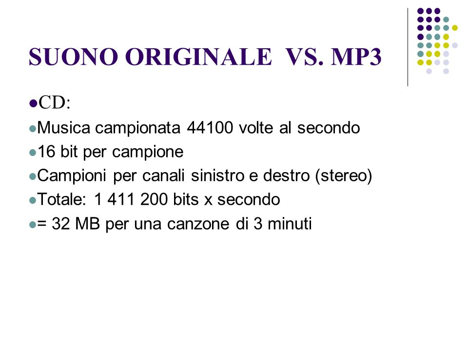 SUONO ORIGINALE VS. MP3 CD: Musica campionata 44100 volte al secondo