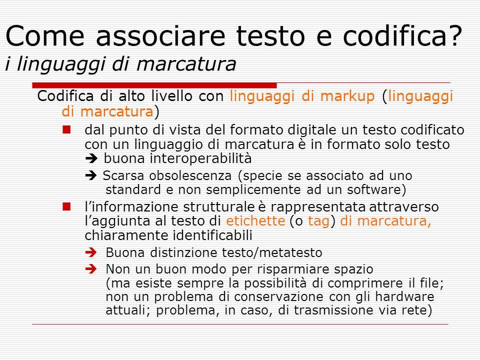 Come associare testo e codifica i linguaggi di marcatura