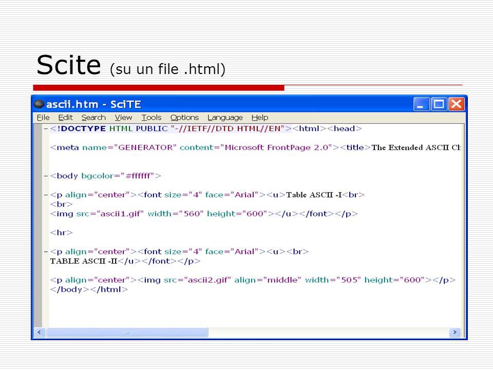Scite (su un file .html)