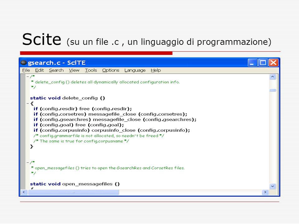 Scite (su un file .c , un linguaggio di programmazione)