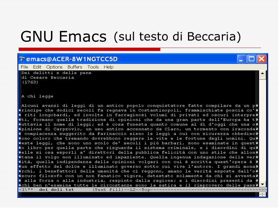 GNU Emacs (sul testo di Beccaria)