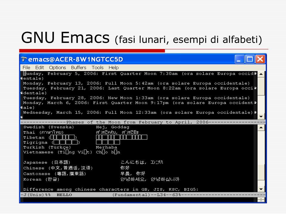 GNU Emacs (fasi lunari, esempi di alfabeti)