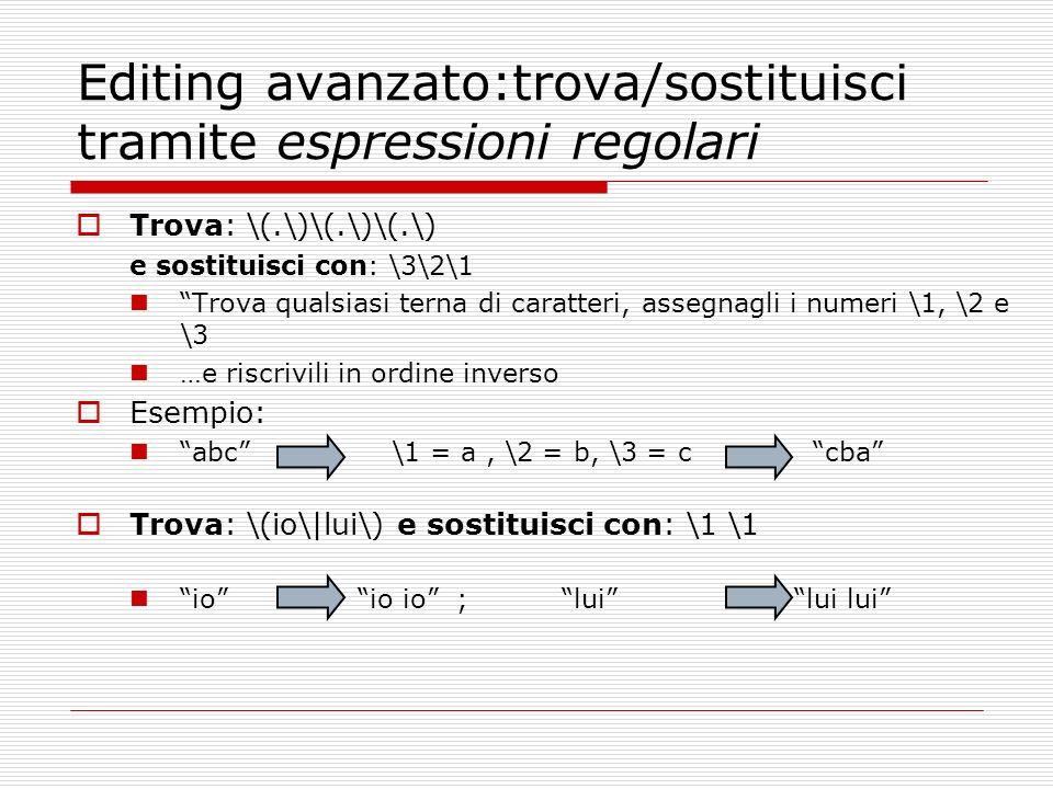 Editing avanzato:trova/sostituisci tramite espressioni regolari