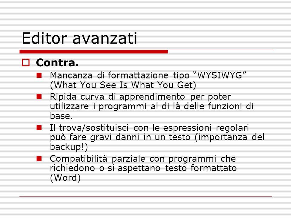 Editor avanzati Contra.