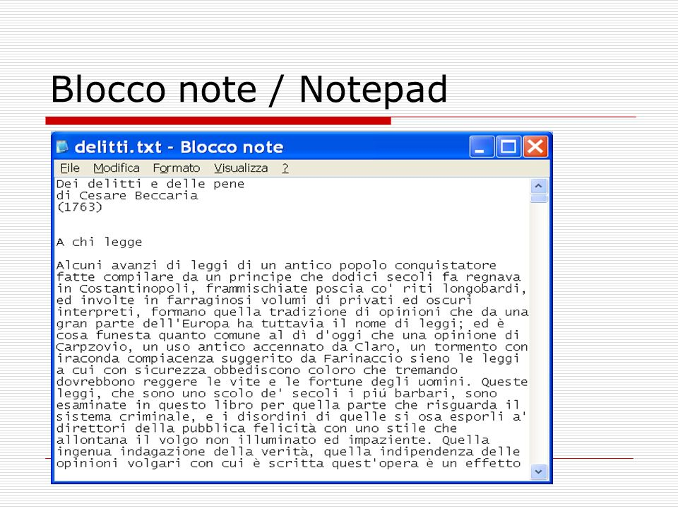 Blocco note / Notepad