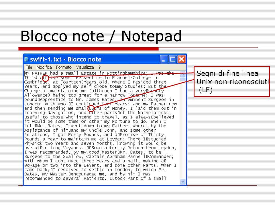Blocco note / Notepad Segni di fine linea Unix non riconosciuti (LF)