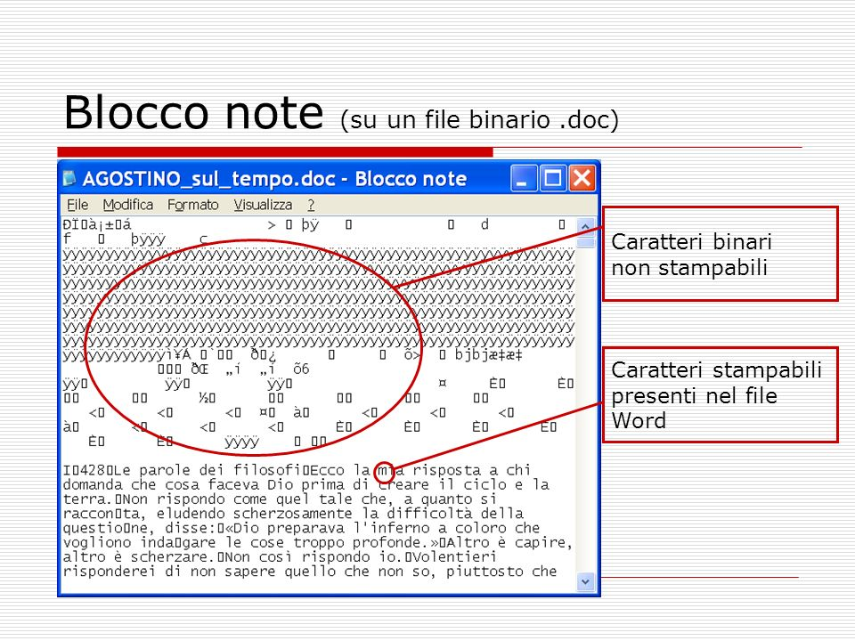 Blocco note (su un file binario .doc)