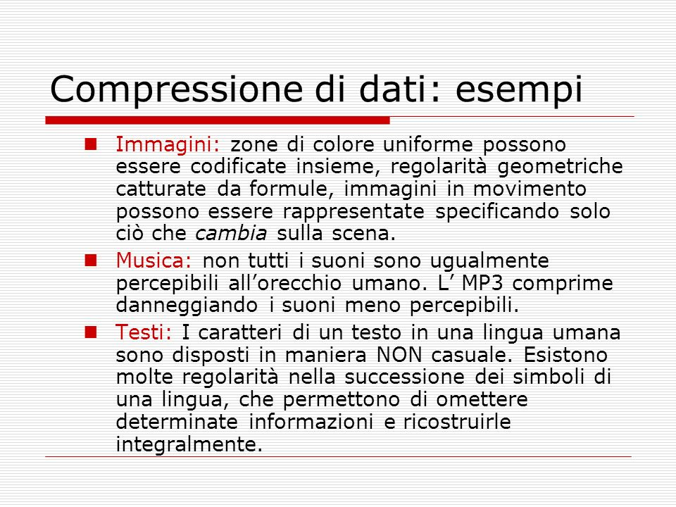 Compressione di dati: esempi