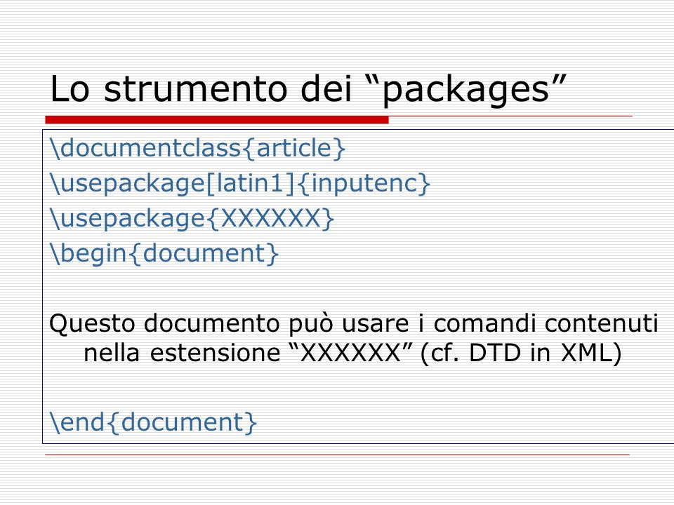 Lo strumento dei packages