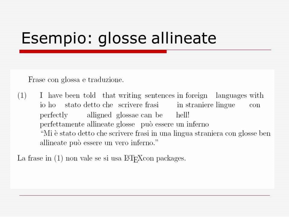 Esempio: glosse allineate