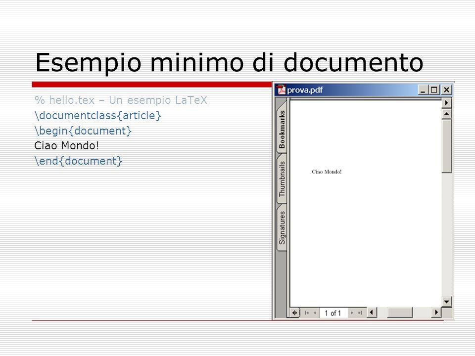 Esempio minimo di documento