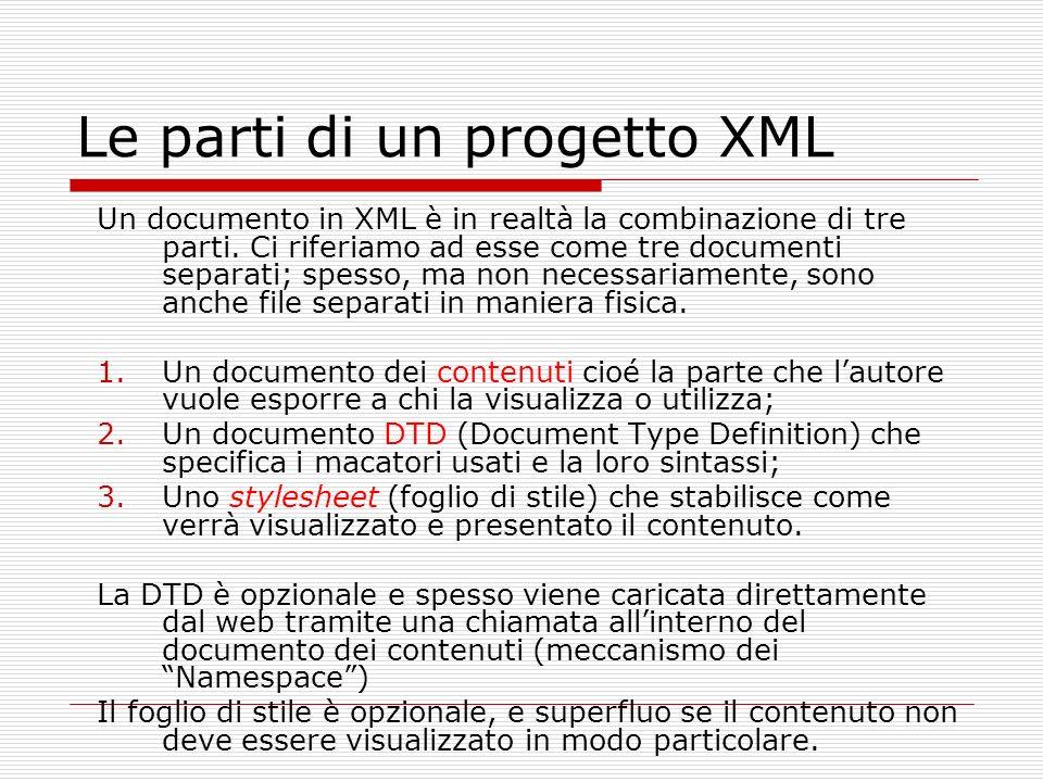 Le parti di un progetto XML