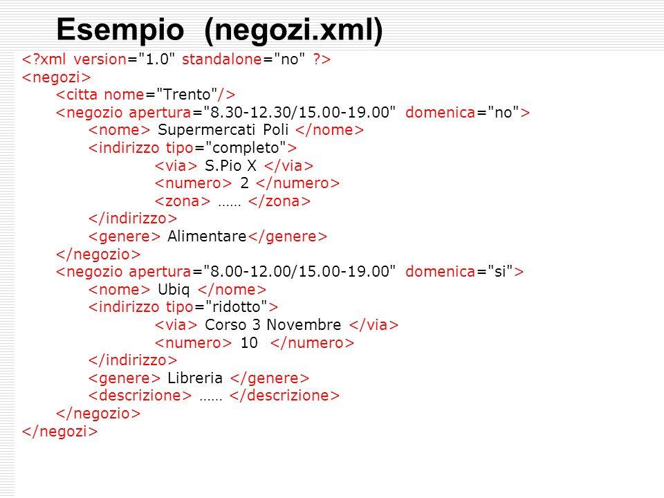 Esempio (negozi.xml) < xml version= 1.0 standalone= no >