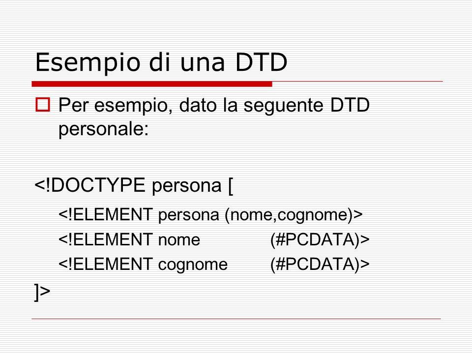 Esempio di una DTD Per esempio, dato la seguente DTD personale: