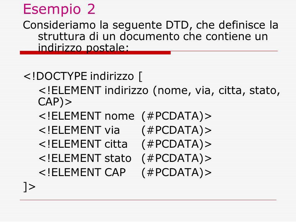 Esempio 2 Consideriamo la seguente DTD, che definisce la struttura di un documento che contiene un indirizzo postale:
