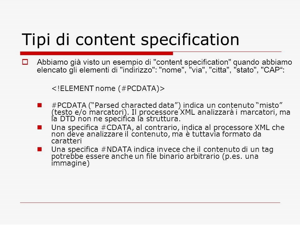 Tipi di content specification