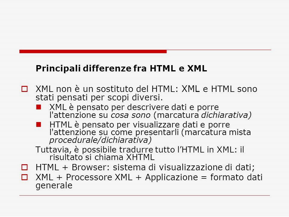 Principali differenze fra HTML e XML