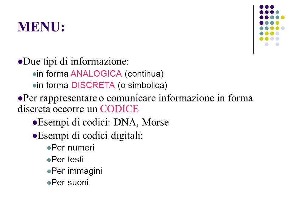 MENU: Due tipi di informazione: