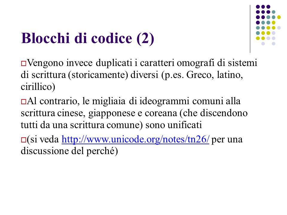 Blocchi di codice (2) Vengono invece duplicati i caratteri omografi di sistemi di scrittura (storicamente) diversi (p.es. Greco, latino, cirillico)