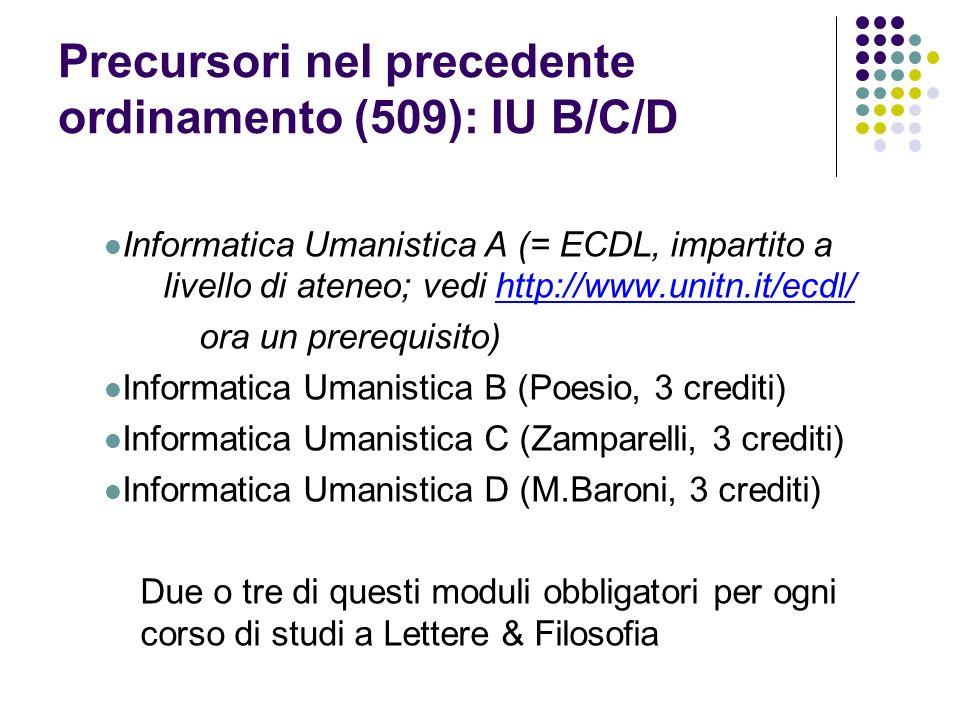 Precursori nel precedente ordinamento (509): IU B/C/D