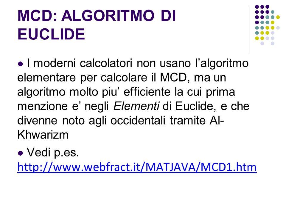 MCD: ALGORITMO DI EUCLIDE