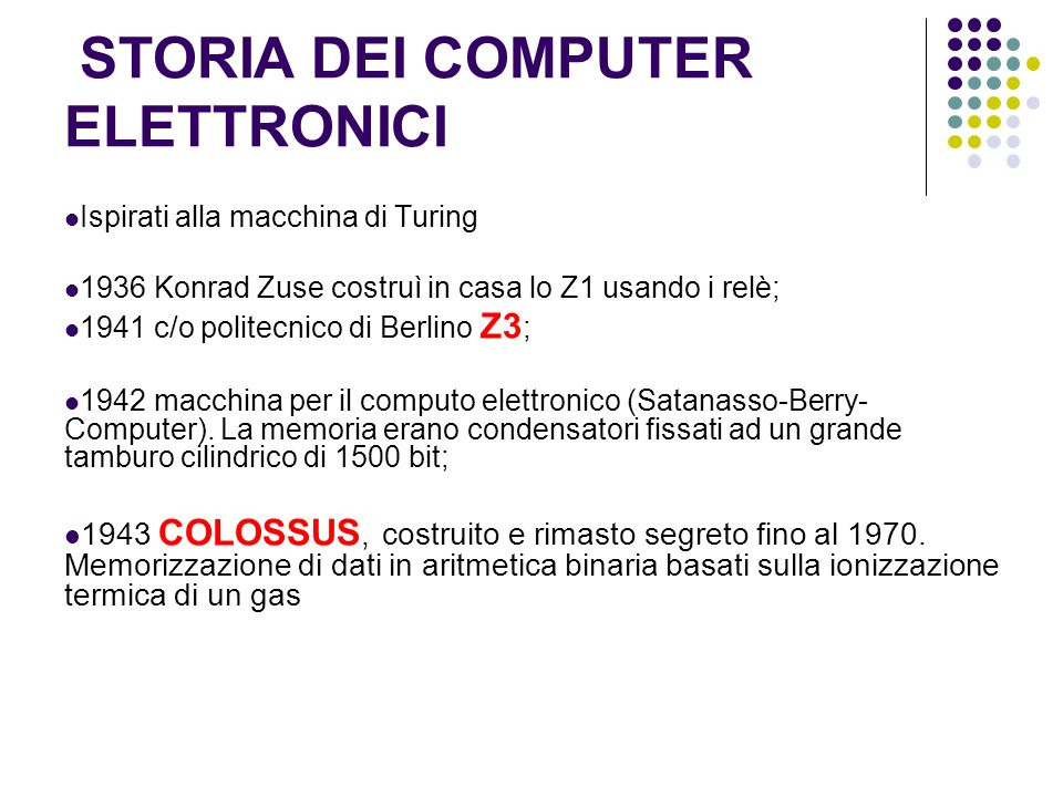 STORIA DEI COMPUTER ELETTRONICI