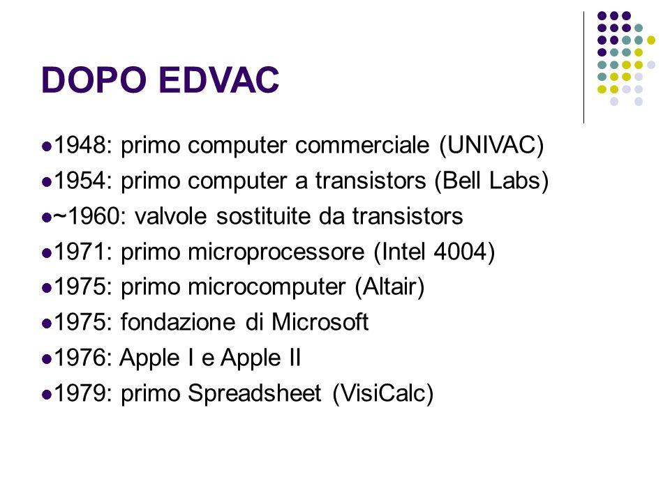 DOPO EDVAC 1948: primo computer commerciale (UNIVAC)