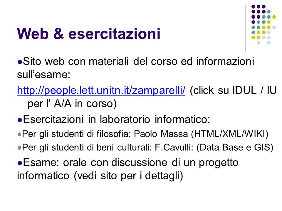 Web & esercitazioni Sito web con materiali del corso ed informazioni sull'esame: