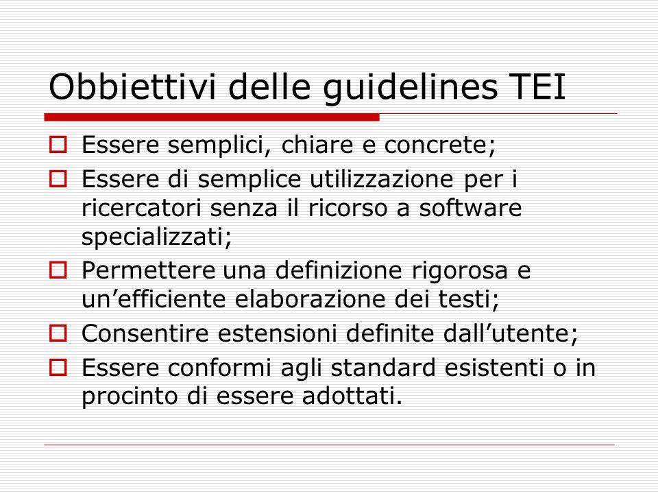 Obbiettivi delle guidelines TEI
