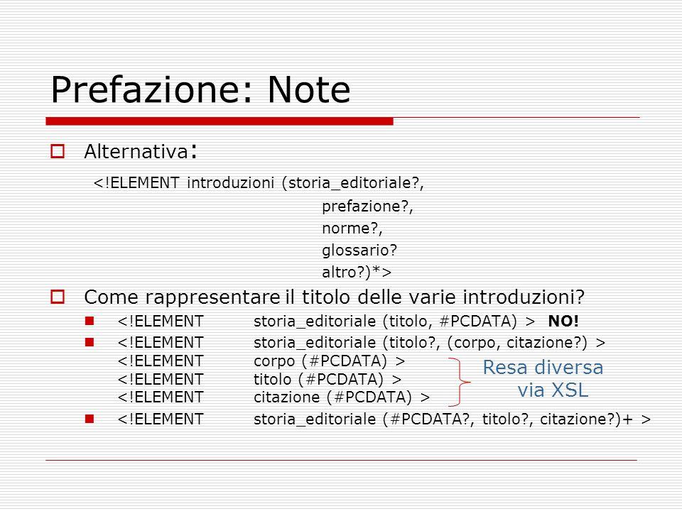 Prefazione: Note Alternativa: <!ELEMENT introduzioni (storia_editoriale , prefazione , norme , glossario