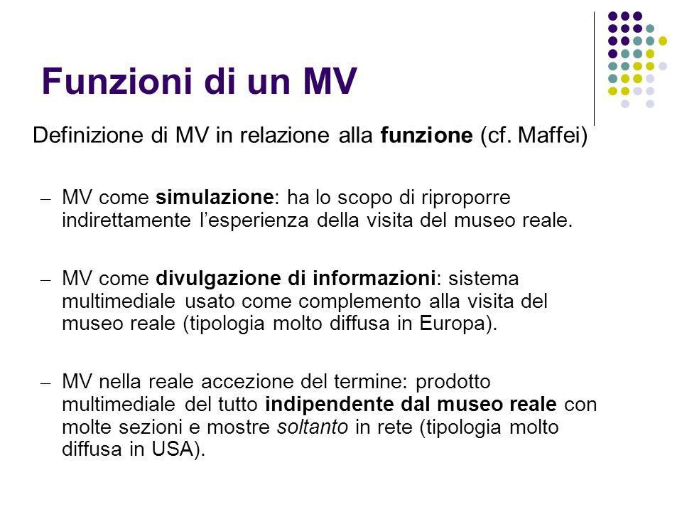 Funzioni di un MVDefinizione di MV in relazione alla funzione (cf. Maffei)