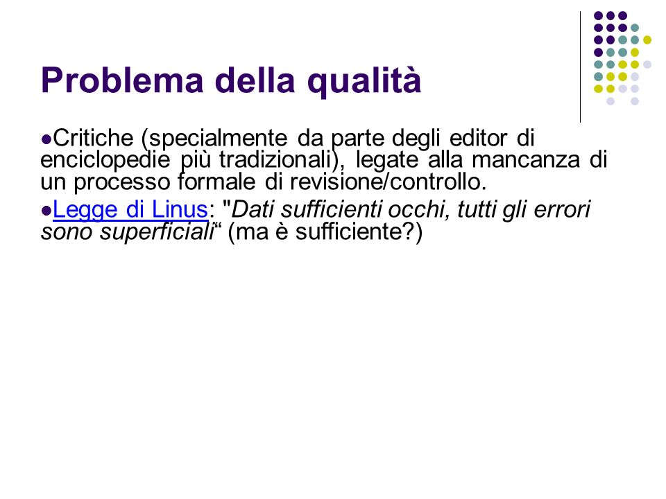 Problema della qualità