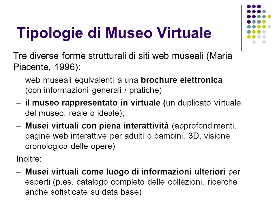 Tipologie di Museo Virtuale