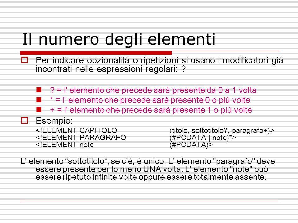 Il numero degli elementi